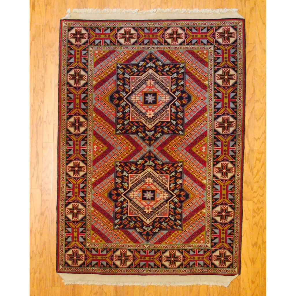 Persian Tribal Kurdish Red/ Black Wool Rug (4' x 6')