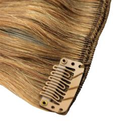Donna Bella #6/24 (Dark Chestnut / Gold Blonde) 20-inch Full Head Human Remy Hair Extensions