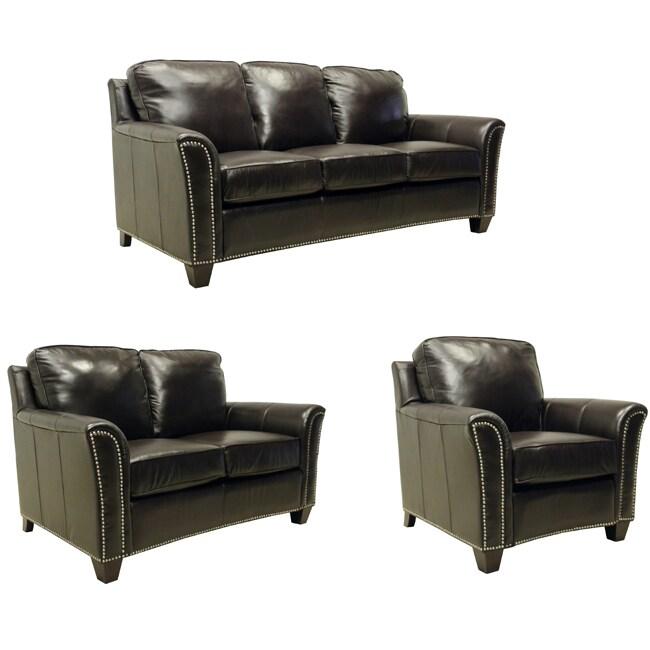 Lancaster Dark Brown Italian Leather 3-piece Sofa Set