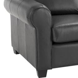 Durham Black Italian Leather Sofa/ Loveseat Set