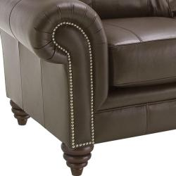 Hudson Brown Italian Leather Sofa/ Loveseat Set