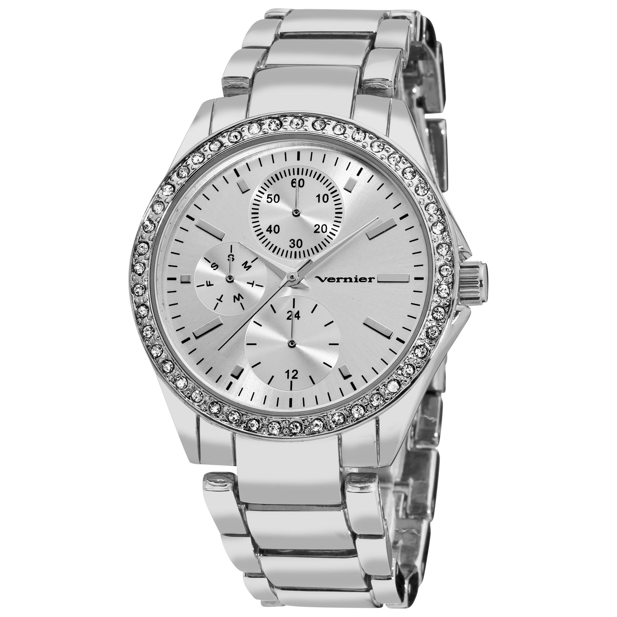 Vernier Women's Silver Tone Chrono Look Crystal Bezel Bracelet Watch