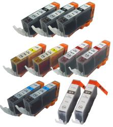 Canon CLI 221 Compatible Black / Colors Ink Cartridge (Pack of 11)