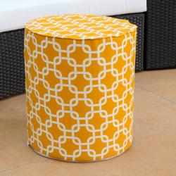 Brooklyn 16-inch Round Yellow Indoor/ Outdoor Ottoman
