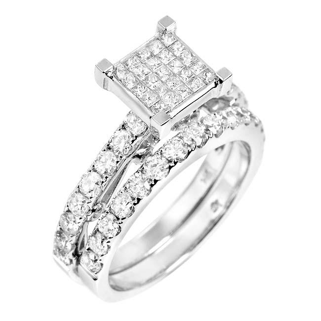 14k White Gold 2/3ct TDW White Diamond Bridal Ring Set (G, SI1-SI2)