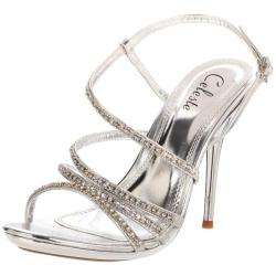 Celeste Women's 'Hana-13' Silver Rhinestone Sandals