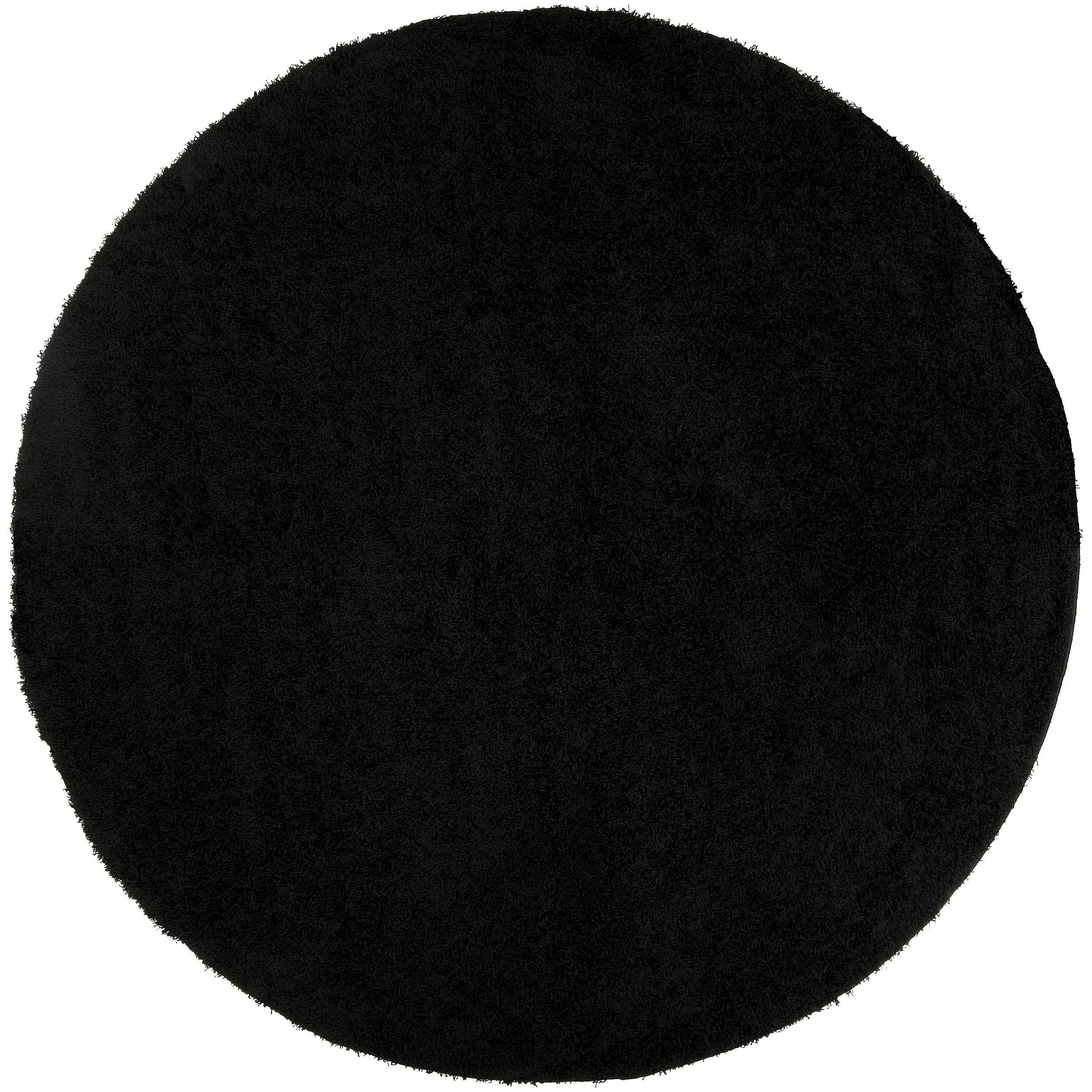 Woven Black Spini Plush Shag (4' Round)