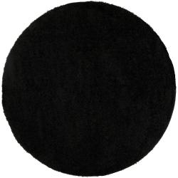 Woven Black Spini Plush Shag (4' Round)