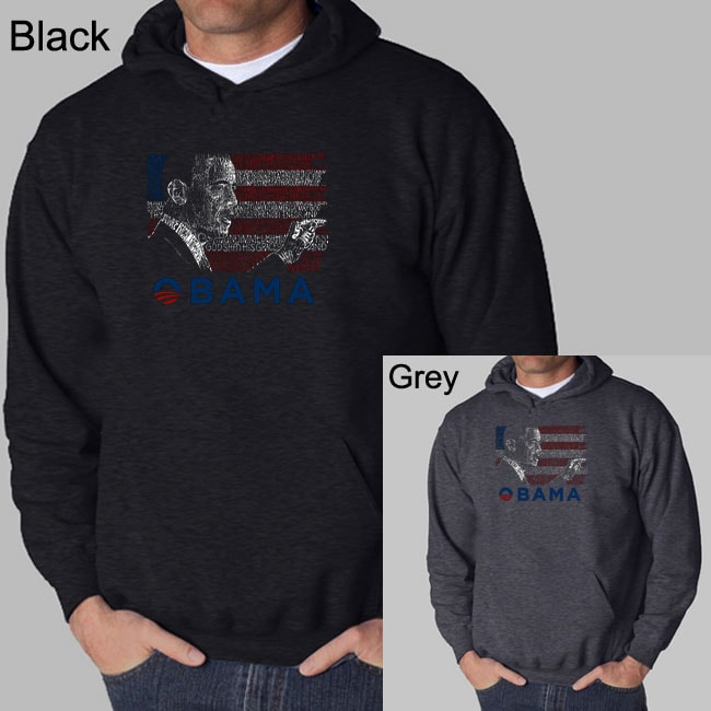 Los Angeles Pop Art Men's Barack Obama Hooded Sweatshirt