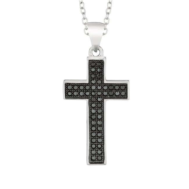 Eziba Collection Sterling Silver Black Cubic Zirconia Cross Necklace at Sears.com
