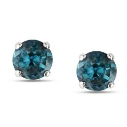 Miadora 14k White Gold 1ct TDW Blue Diamond Solitaire Earrings (I2-I3)