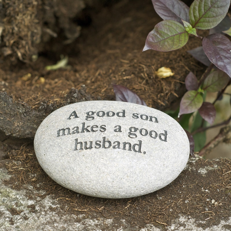 Volcanic 'A Good Son Makes A Good Husband' Engraved Message Stone (Indonesia)