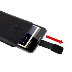Black Leather Pull Pouch for Samsung Galaxy Note N7000