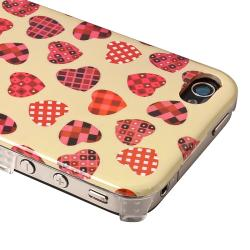 Creamy/ Light Pink Heart Rear Snap-on Case for Apple iPhone 4/ 4S