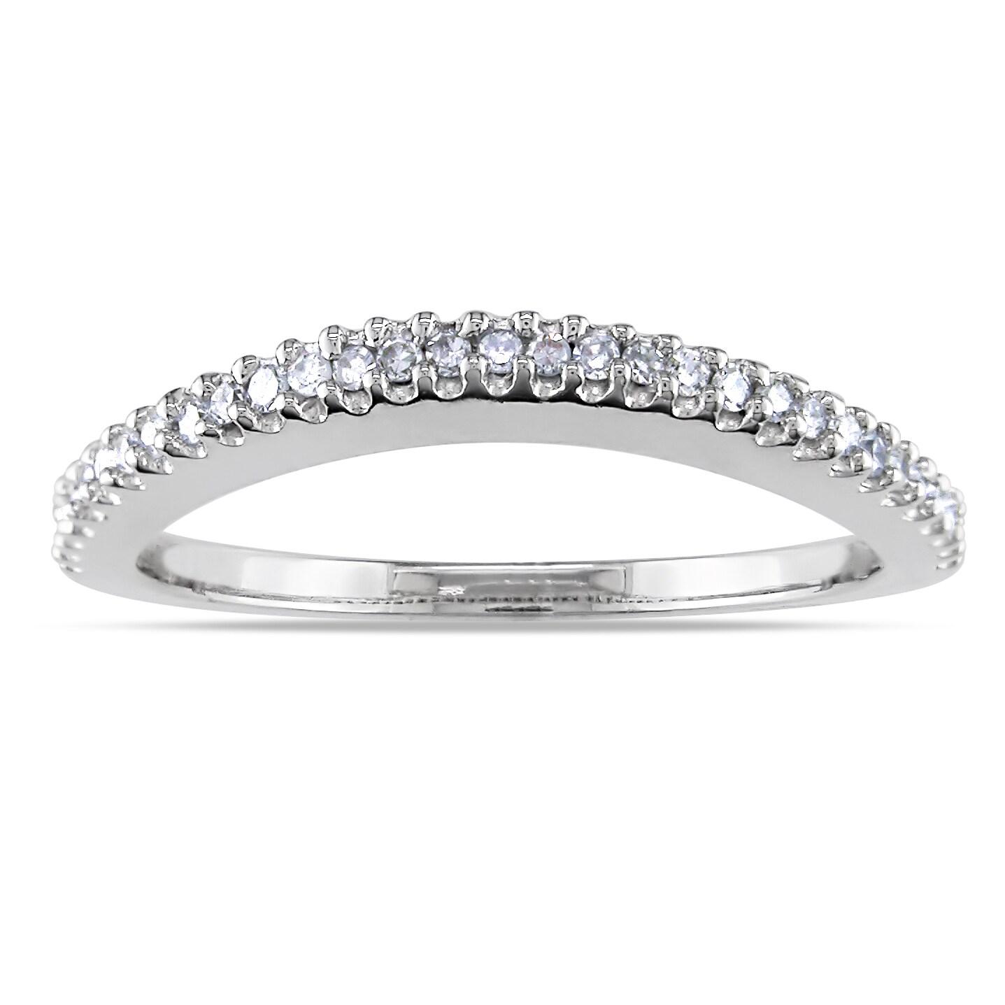 14k White Gold 1/6ct TDW Diamond Curved Wedding Band (G-H, I1-I2)