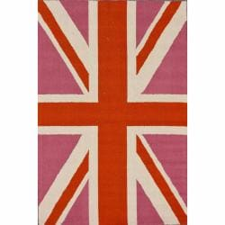 nuLOOM Handmade Kids United Kingdom Flag Wool Rug (6' x 9')