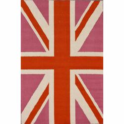 nuLOOM Handmade Kids United Kingdom Flag Wool Rug (4' x 6')