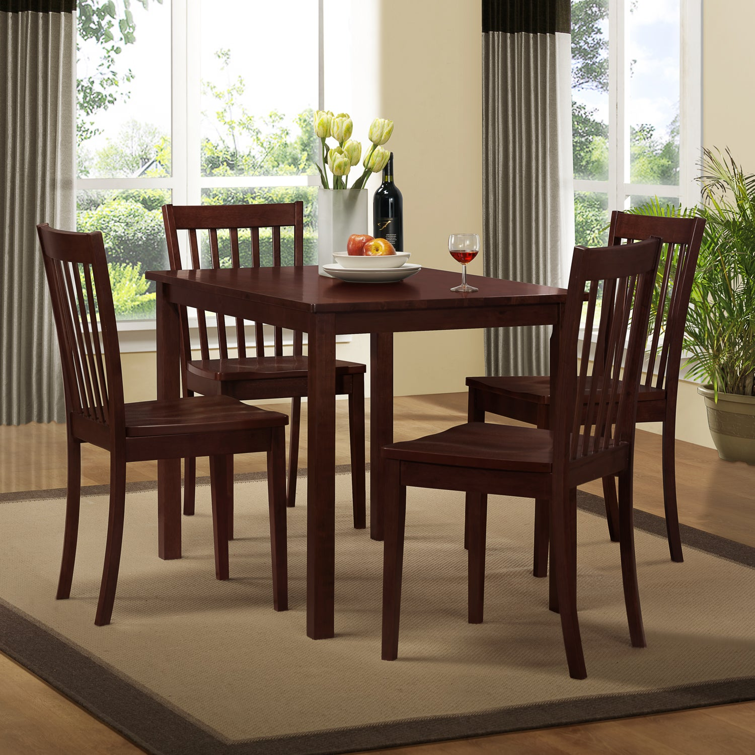 Norfolk 5-piece Slat Back Chair Dining Set