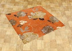 Hand-tufted Delhi Red Orange Wool Rug (6' Square)