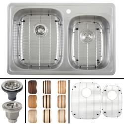 Ticor 18-gauge Stainless Steel Overmount Kitchen Sink with Cutting Board