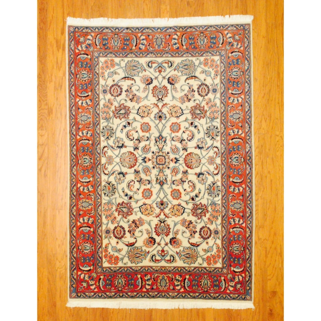 Persian Hand-knotted Tabriz Ivory/ Red Wool Rug (5'4 x 7'10)