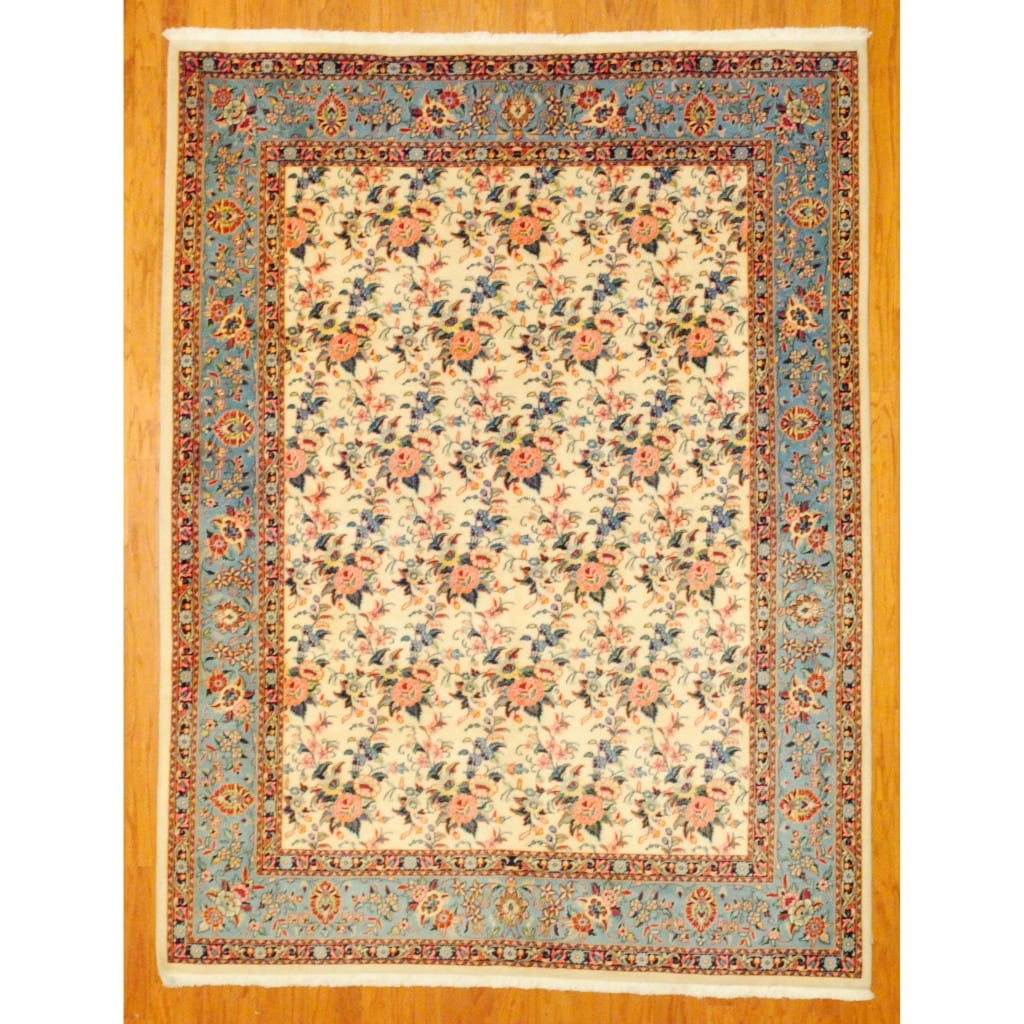 Persian Hand-knotted Sarouk Ivory/ Light Blue Wool Rug (6'9 x 8'10)