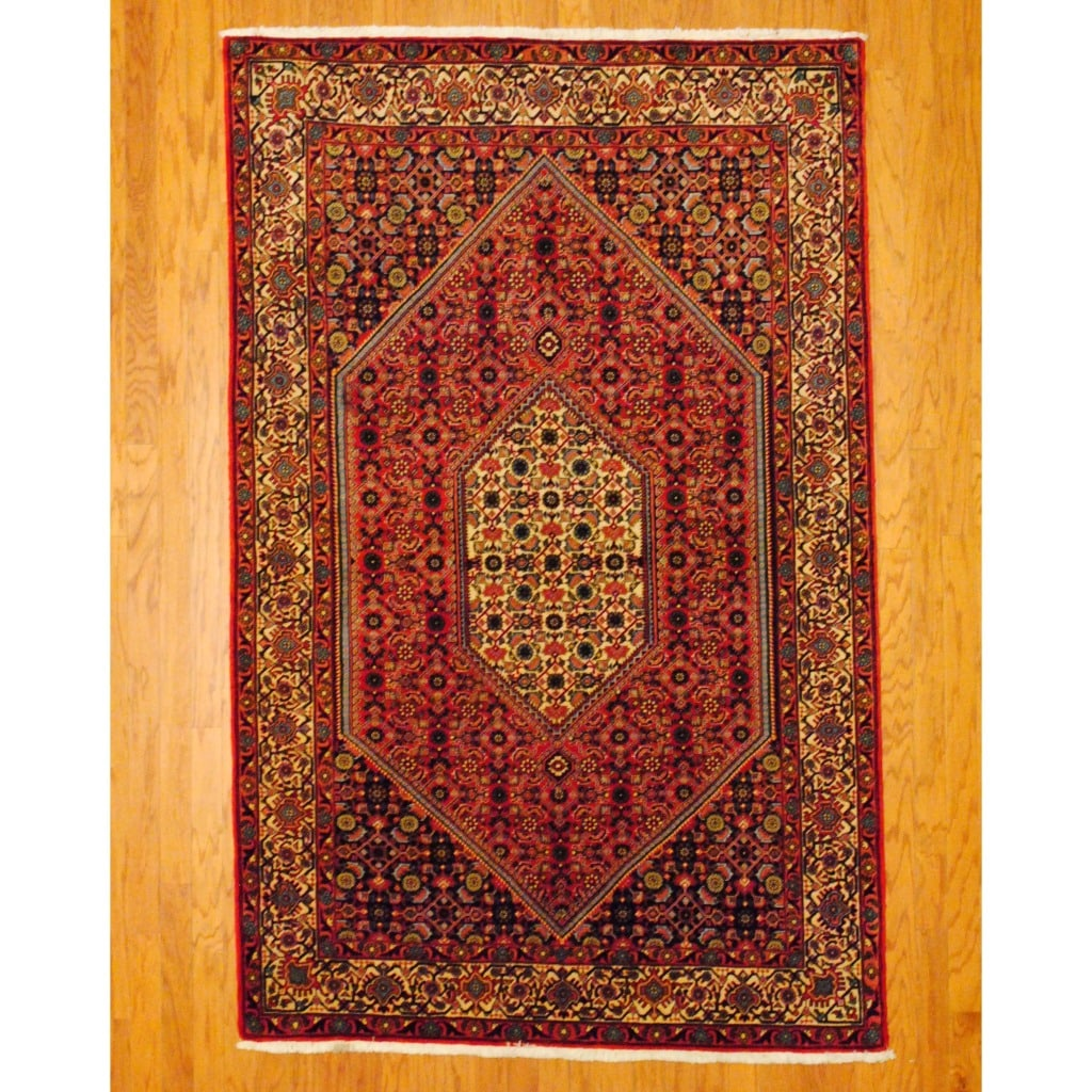 Persian Hand-knotted Bidjar Red/ Ivory Wool Rug (5'2 x 8'2)