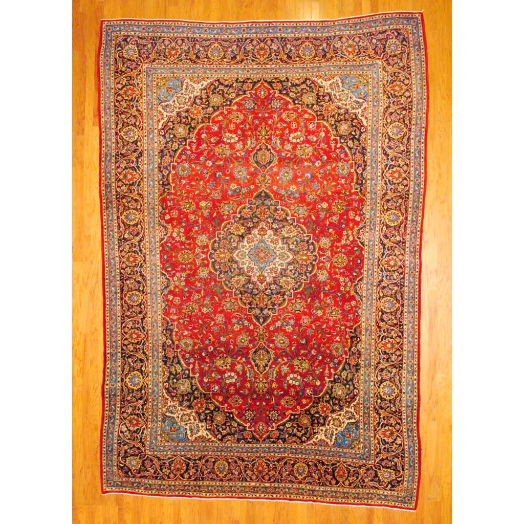 Persian Hand-knotted Kashan Red/ Navy Wool Rug (9'6 x 14'4)