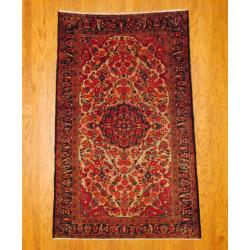 Antique Persian Hand-knotted Tribal Hamadan Ivory/ Red Wool Rug (4'10 x 7'9)