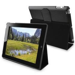 BasAcc Black Leather Case with Holster and Stand for Apple iPad 2