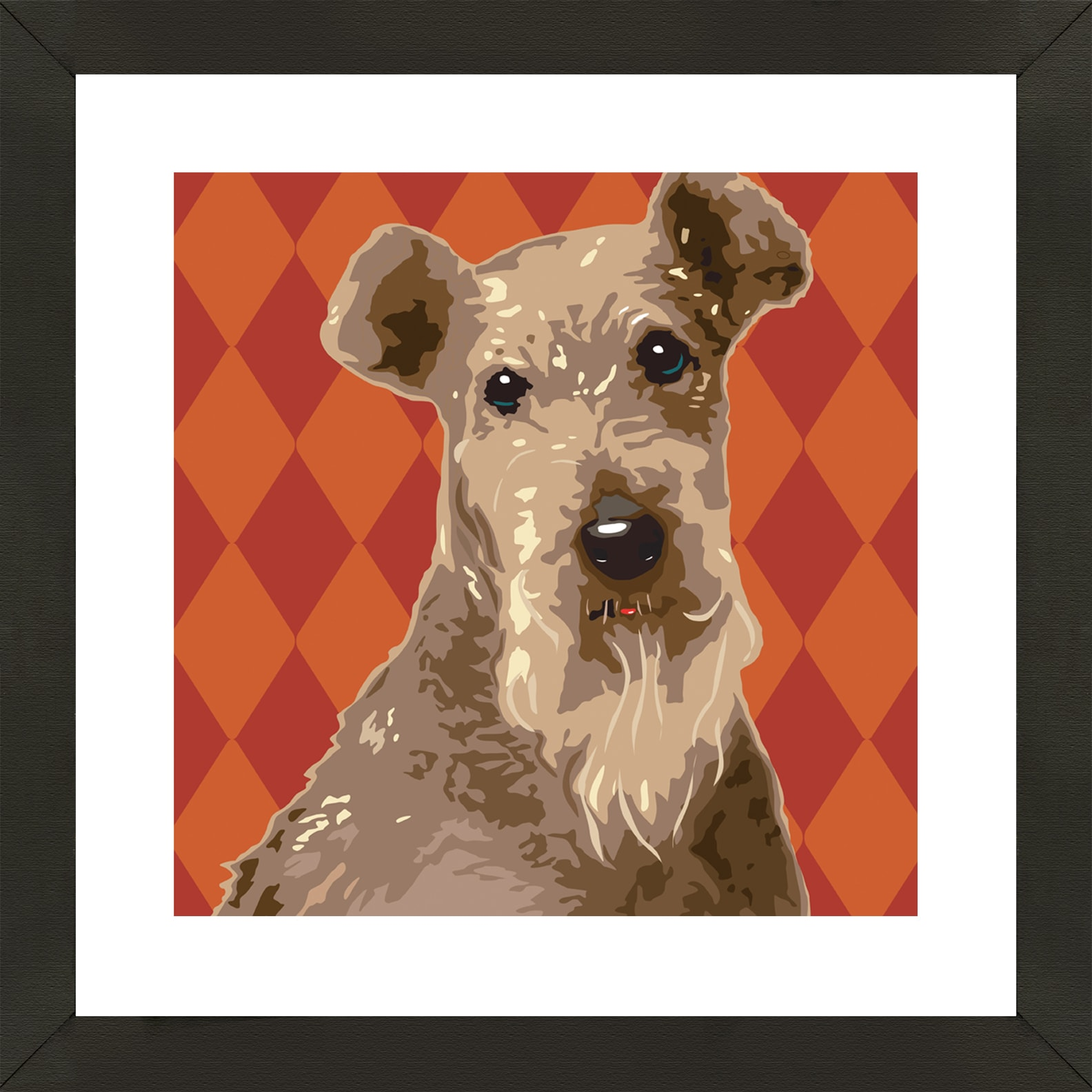 Framed Airedale Terrier Giclee Print Photo