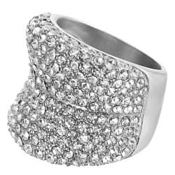 Journee Collection Stainless Steel Pave-set Cubic Zirconia Slope Ring