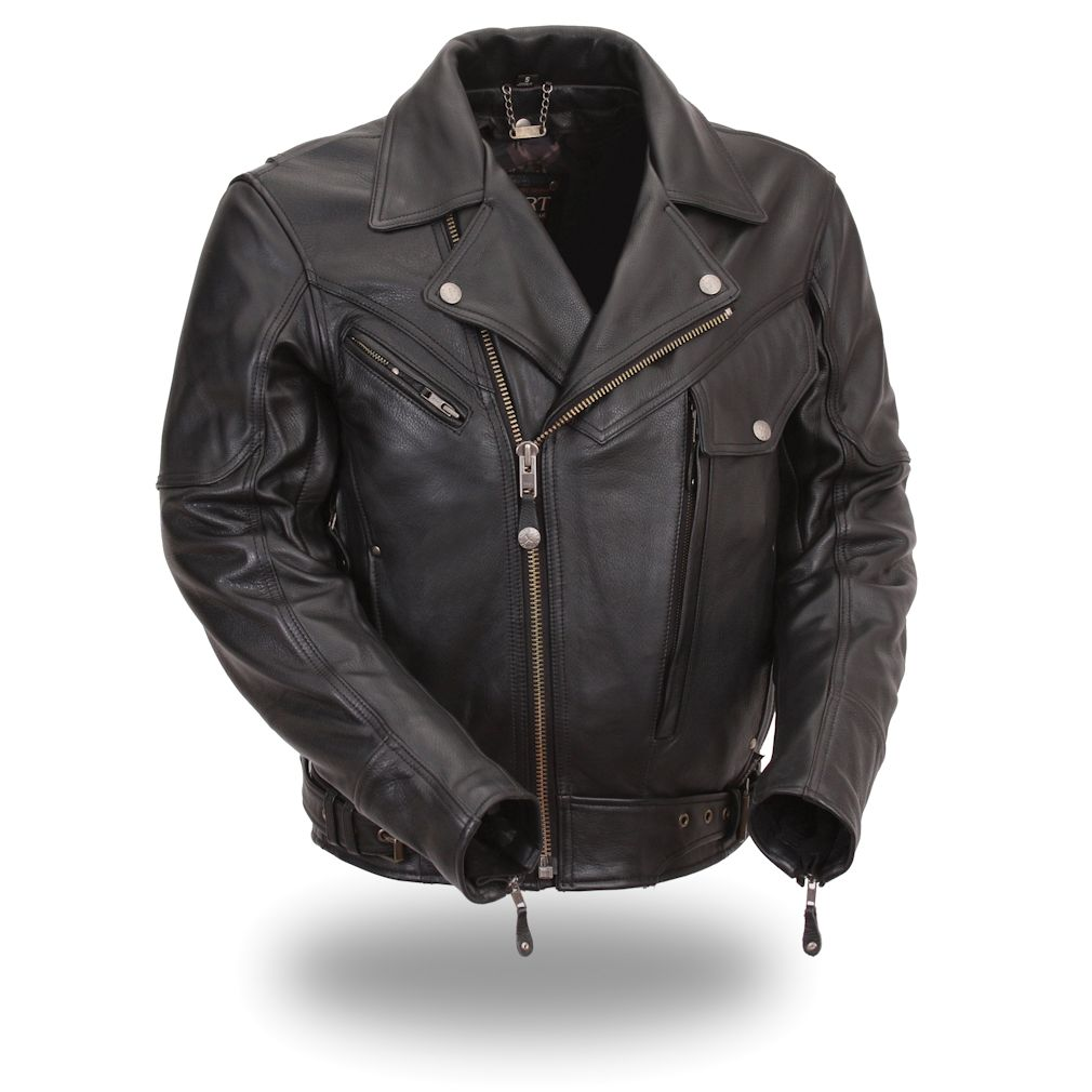 XPert Performance Mens Bronson Hybrid Black Leather Motorcycle Jacket