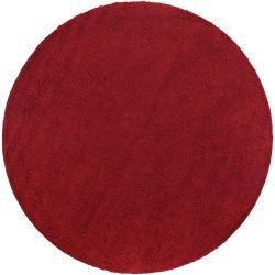 Woven Red Vinay Plush Shag (4' Round)