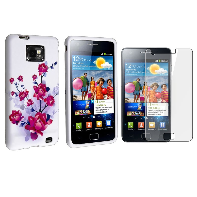 Flower TPU Case/ Screen Protector for Samsung Galaxy S II i9100