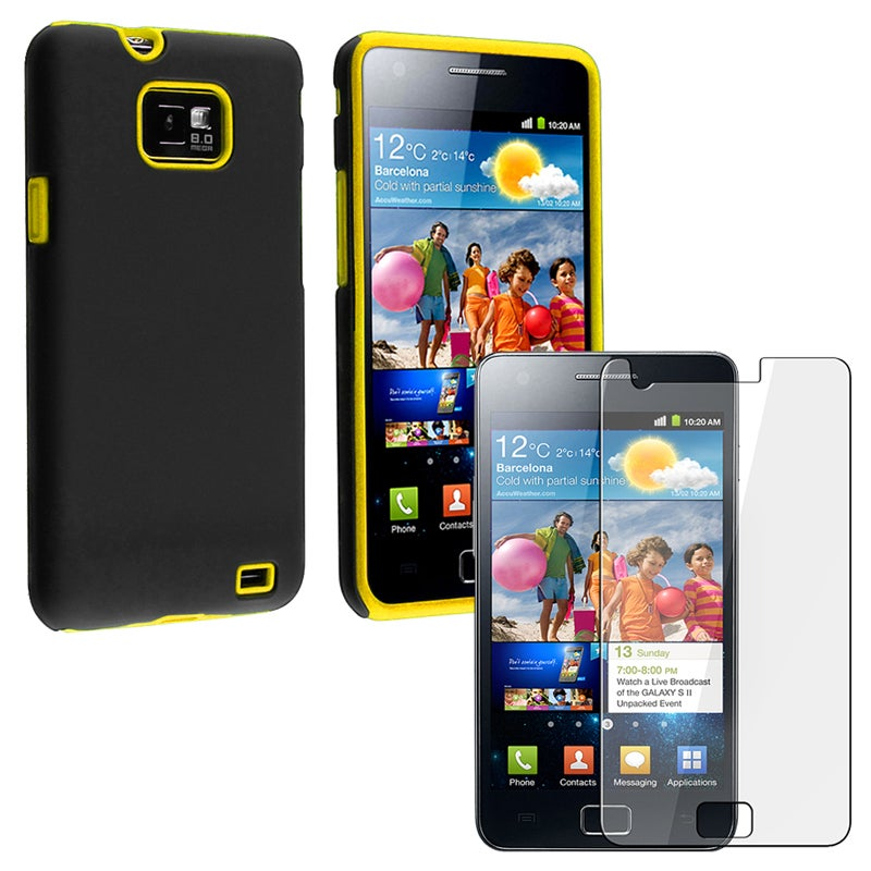 Yellow/ Black Hybrid Case/ LCD Protector for Samsung Galaxy S II i9100