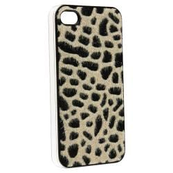Purple Sparkle/ Light Brown Furry Leopard Case Apple iPhone 4/ 4S
