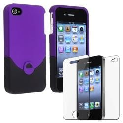 Purple/ Black Rubber Coated Case/ LCD Protector for Apple iPhone 4/ 4S