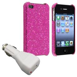 Purple Sparkle Glitter Case/ Car Charger for Apple iPhone 4/ 4S