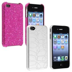 Purple Sparkle Glitter Case/ Silver Swirl Case for Apple iPhone 4/ 4S