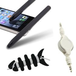 Black Stylus/ Headset Wrap/ Audio Cable for Apple iPhone/ iPad/ iPod