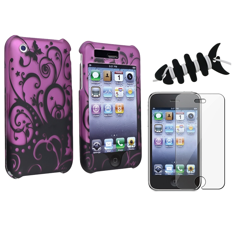 Purple Case/ Screen Protector/ Headset Wrap for Apple iPhone 3G/ 3GS