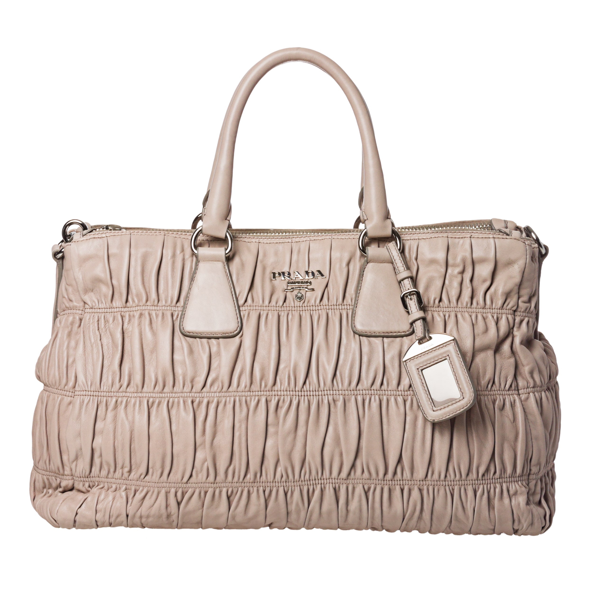 Prada Taupe Ruched Leather Satchel Bag - 14294551 - Overstock.com ...