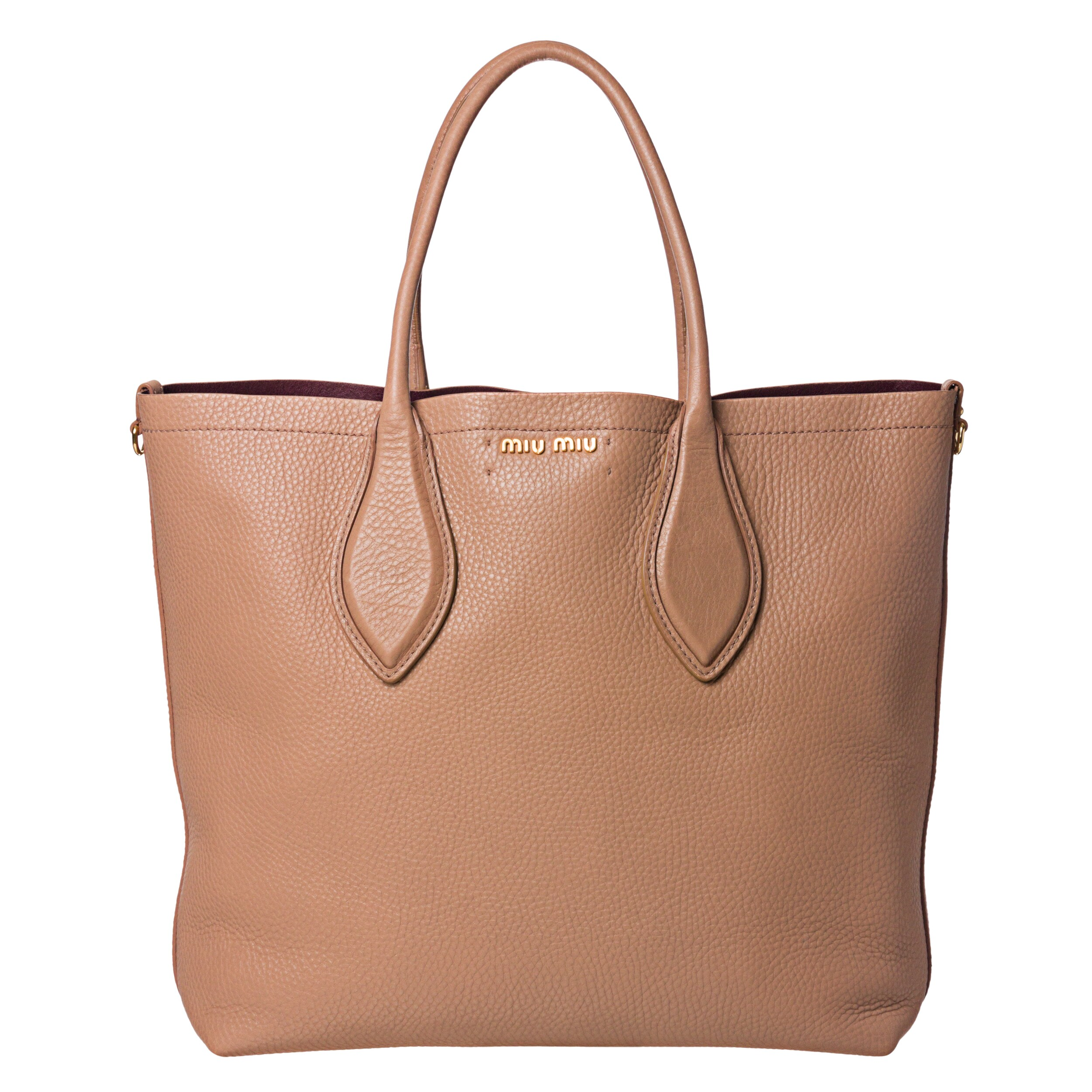 Miu Miu Large Peach Leather Tote Bag