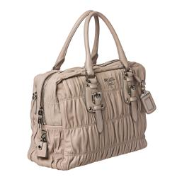 Prada Beige Ruched Leather Bowler Bag