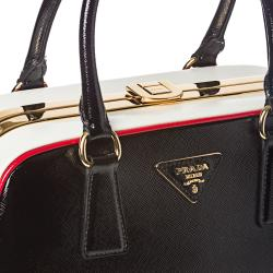 prada lady handbag - Prada Black/ White Leather Pyramid Frame Bowler Bag - 14294528 ...
