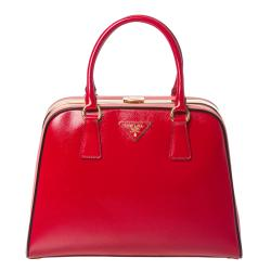 Prada Red/ Pink Leather Pyramid Frame Bowler Bag