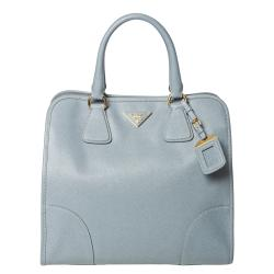 Prada 'Saffiano' Pale Blue Leather Tote Bag