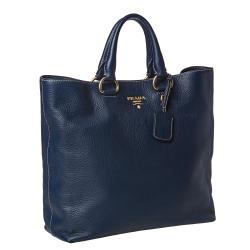 Prada 'Daino' Navy Leather Tote Bag