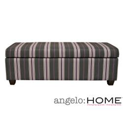 angelo:HOME Kent Founding Stripe Gray/ Plum Wall Hugger Trunk Ottoman